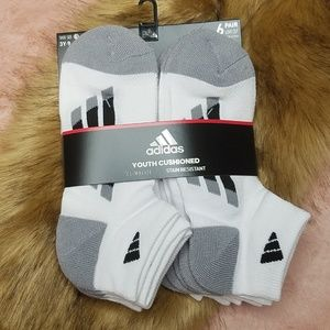 Adidas Climalite Youth Cushioned Ankle Socks 6PK